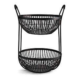 Scott Living Oasis Linear 15-Inch 2-Tier Basket in Black