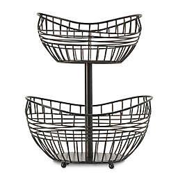 Scott Living Catalyst Iron 15-Inch 2-Tier Basket in Black