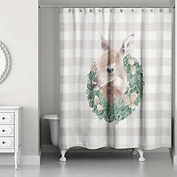 Buffalo Check Fawn Wreath Shower Curtain