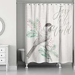 Joy to the World Bird on Branch Shower Curtain