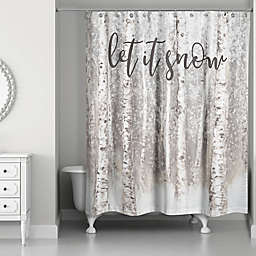 Let it Snow Brown Birches Shower Curtain