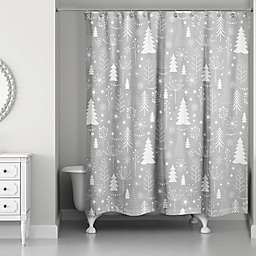 Gray Christmas Tree Pattern Shower Curtain