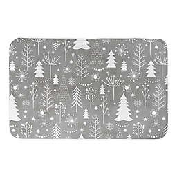 Grey Christmas Tree Pattern Bath Mat