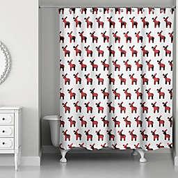 Buffalo Check Deer Pattern Shower Curtain