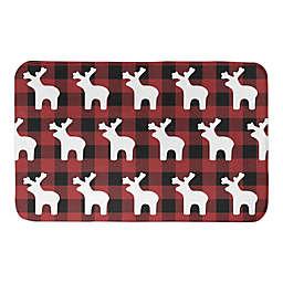 Buffalo Check Deer Pattern Reverse Bath Mat