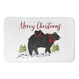 Black Bear Merry Christmas Bath Mat