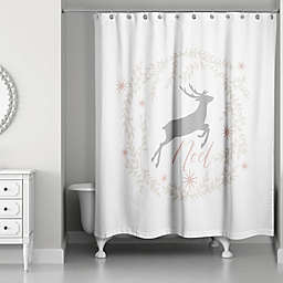 Noel Deer with Champagne Wreath Shower Curtain