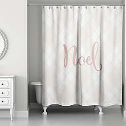 Blush Noel on Champagne Plaid Shower Curtain