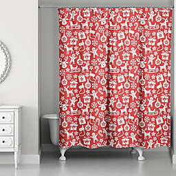 Christmas Icon Pattern Shower Curtain
