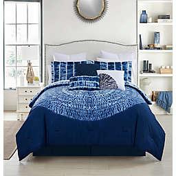 Debra Valencia™ Home Mariko 9-Piece Reversible Queen Comforter Set in Blue