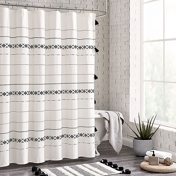 Alternate image 1 for 72-Inch x 72-Inch Moroccan Geo Shower Curtain in Black/White