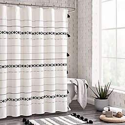 72-Inch x 72-Inch Moroccan Geo Shower Curtain in Black/White