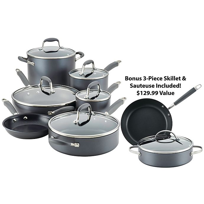 Alternate image 1 for Anolon® Advanced™ Home Hard-Anodized Nonstick 11-Piece Cookware Set in Moonstone