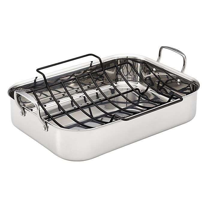 Alternate image 1 for Anolon® Tri-Ply Clad Nonstick 17-Inch x 12.5-Inch Stainless Steel Rectangular Roaster w/Rack
