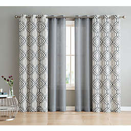 VCNY Home Jackston 4-Pack 84-Inch Grommet Light Filtering Window Curtain Panels in Charcoal