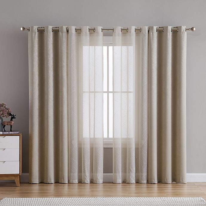 Alternate image 1 for VCNY Home Hudson 4-Pack 84-Inch Grommet Room Darkening Window Curtain Panels in Taupe