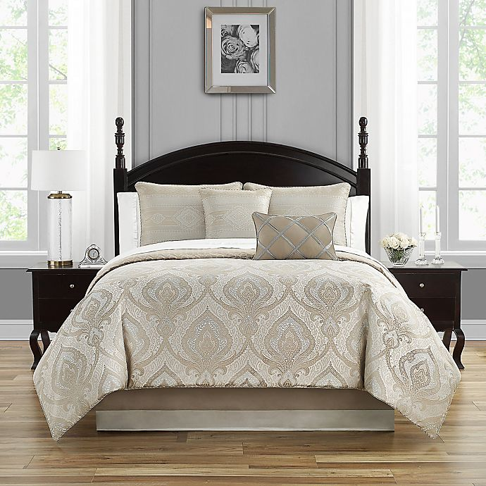 Alternate image 1 for Waterford® Morovan 4-Piece Reversible Comforter Set in Taupe/Aqua