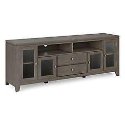 "Simpli Home Cosmopolitan Solid Wood 72"" Wide TV Media Stand in Farmhouse Grey"
