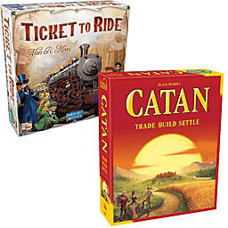 Asmodee Settlers of Catan and Ticket to Ride Board Game Bundle