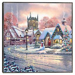 Masterpiece Art Gallery The Macneil Studio Snowy Village 24-Inch x 24-Inch Framed Canvas Wall Art