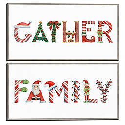 Masterpiece Art Gallery 2-Piece Gather Family 12-Inch x 24-Inch Framed Canvas Wall Art