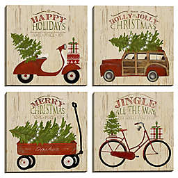 Masterpiece Art Gallery Christmas Vehicles 12-Inch x 12-Inch Canvas Wall Art (Set of 4)
