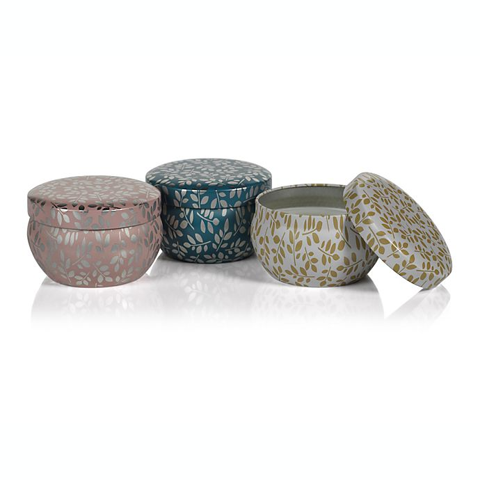Alternate image 1 for Zodax Leaves 3.25 oz. Candle Tins (Set of 3)