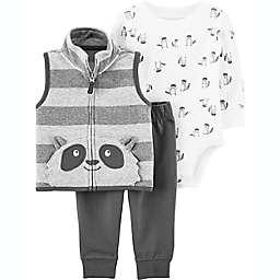 carter's® 3-Piece Racoon Vest, Bodysuit and Pant Set in Grey