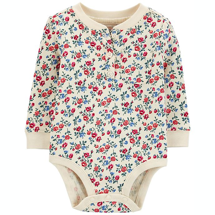 Alternate image 1 for carter's® Size 24M Floral Double-Knit Henley Bodysuit in Ivory