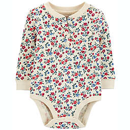 carter's® Floral Double-Knit Henley Bodysuit in Ivory