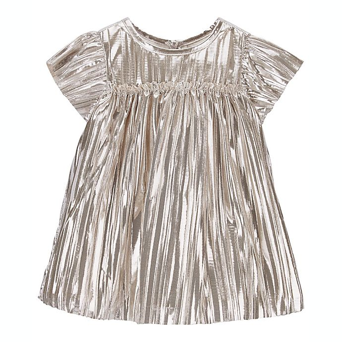Alternate image 1 for carter's® 2-Piece Metallic Pleated Sparkle Dress and Diaper Cover Set