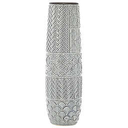 Ridge Road Décor Tall Eclectic Stoneware Vase in Grey