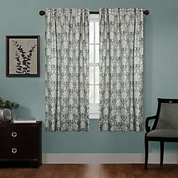 Zenna Home Damask 63-Inch Rod Pocket 100% Blackout Window Curtain Panel in Charcoal
