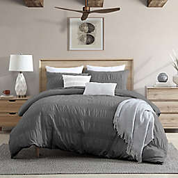 Moselle Ruched Waffle 3-Piece Full/Queen Duvet Cover Set in Dark Grey