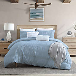Moselle Ruched Waffle 3-Piece King/California King Duvet Cover Set in Blue