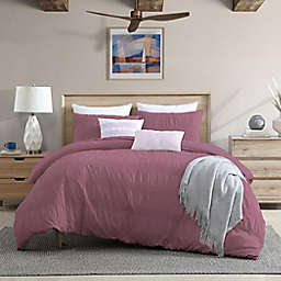 Moselle Ruched Waffle 3-Piece King/California King Duvet Cover Set in Rose