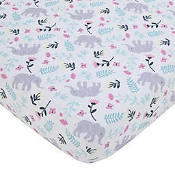 carter's® Floral Elephant Fitted Crib Sheet in Teal