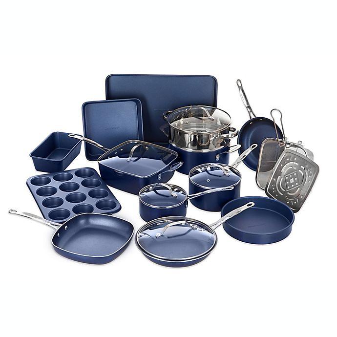 Alternate image 1 for Granitestone Diamond Nonstick Aluminum 20-Piece Cookware Set in Blue
