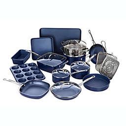Granitestone Diamond Nonstick Aluminum 20-Piece Cookware Set in Blue