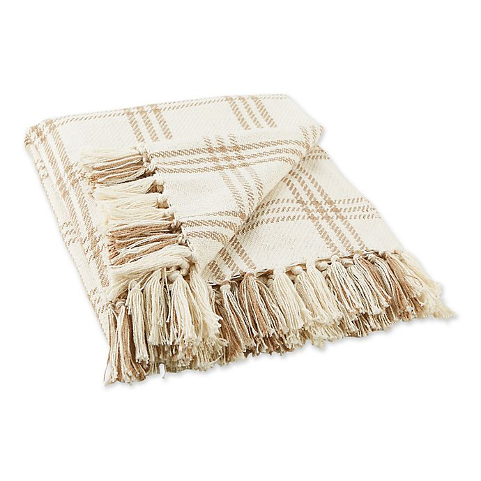 Alternate image 1 for Design Imports Modern Farmhouse Plaid Throw Blanket in Brown