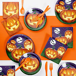 Creative Converting 73-Piece Glowing Pumpkins Snack Party Supplies Kit