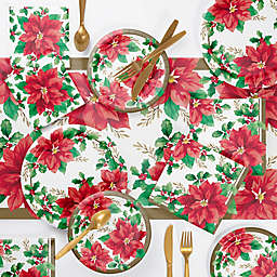 Creative Converting 219-Count Elegant Poinsettia Deluxe Party Supplies Kit