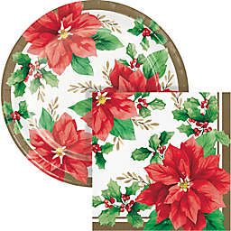 Creative Converting 72-Count Elegant Poinsettia Snack Party Kit