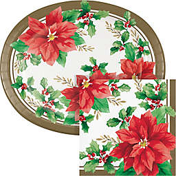 Creative Converting 72-Count Elegant Poinsettia Buffet Kit