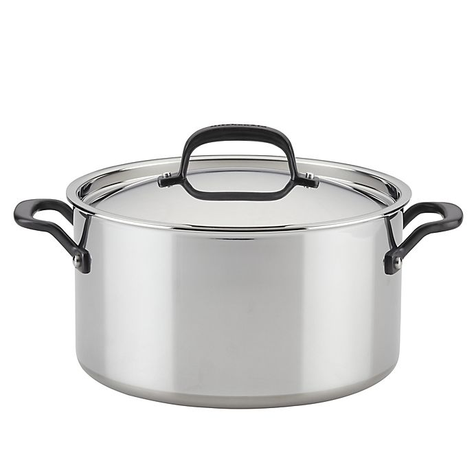 Alternate image 1 for Kitchenaid® 5-Ply Clad 8 qt. Stainless Steel Covered Stock Pot
