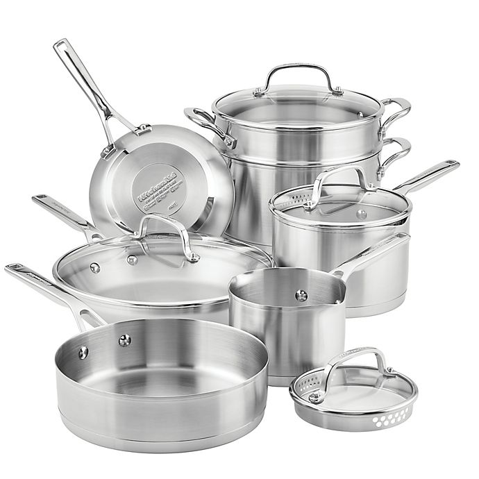 Alternate image 1 for KitchenAid® 3-Ply Stainless Steel 11-Piece Cookware Set