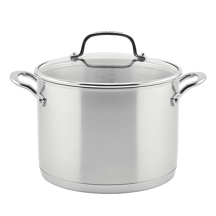 Alternate image 1 for KitchenAid® 3-Ply Stainless Steel 8 qt. Covered Stock Pot