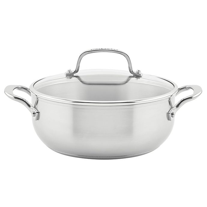 Alternate image 1 for KitchenAid® Nonstick 3-Ply Stainless Steel 4 qt. Covered Casserole