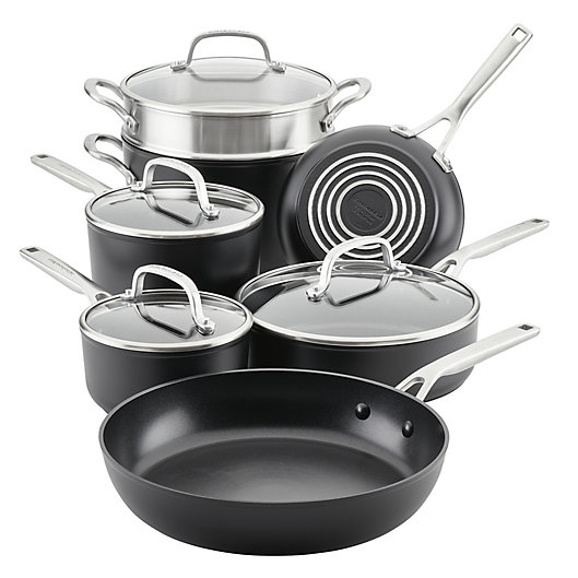 Alternate image 1 for Kitchenaid® Nonstick Hard-Anodized 11-Piece Cookware Set in Black