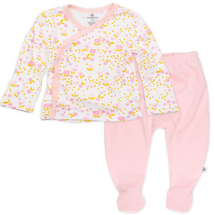 Alternate image 1 for The Honest Company® Preemie 2-Piece Organic Cotton Kimono Top and Pant Set in Pink